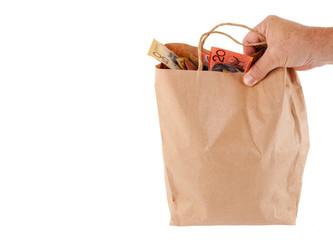 money in paper bag