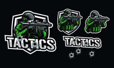 Tactics soldier mascot logo design for sport or e-sport logo isolated on dark background - fototapety na wymiar