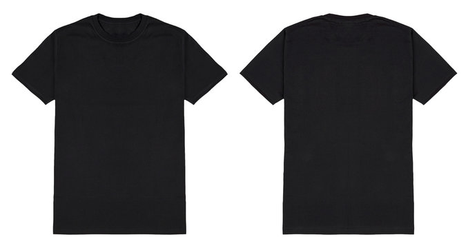 Black t shirt front and back view, isolated on white background. Ready for your mock up design template.