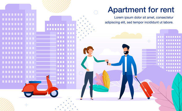 Small Business Opportunity, Contemporary Apartments for Rent Offer Trendy Flat Vector Advertising Banner, Promo Poster Template. Woman, Property Female Owner Giving Key to Tenant, Renter Illustration