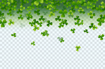 Shamrock falling leaves isolated on transparent background. Green irish symbol Good Luck. Vector clover pattern for Saint Patrick's Day holiday greeting card design