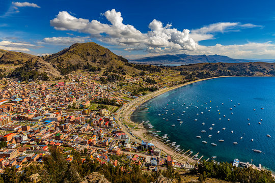 Bolivia, La Paz Department. Copacabana, main town at the shore of Lake Titicaca. Panoramic view of the town from Cerro Calvario. There is the Basilica of Our Lady of Copacabana