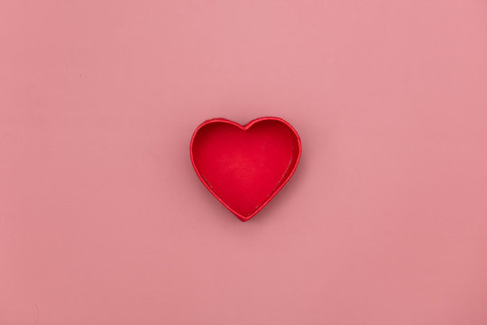 heart shape gift box on pink background