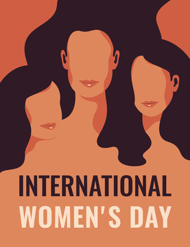 International Women's Day card with Silhouettes of three women standing together. Women's friendship, union of feminists or sisterhood. The concept of the female's empowerment movement.