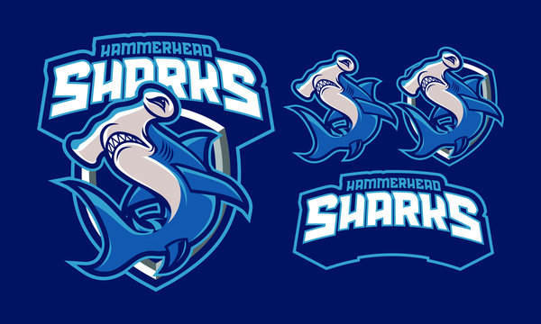 Hammerhead sharks mascot logo design with extra design fit for sport of e-sport logo isolated on dark background