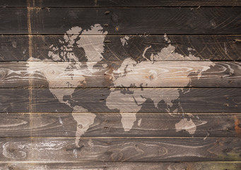 World map on a wooden wall
