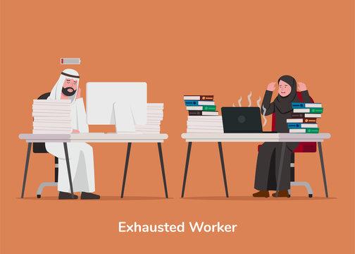 Set Illustration Arabian Exhausted Worker Cartoon Illustration