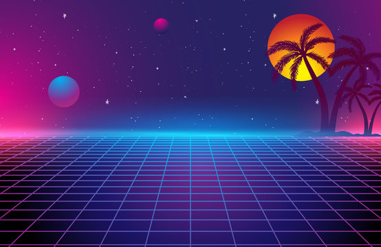 80s Retro Sci-Fi Background, Retro Futuristic Grid landscape of the 80`s.  Digital Cyber Surface. Suitable for design in the style of the 1980`s Vector illustration