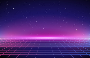 Photo sur Aluminium Prune 80s Retro Sci-Fi Background