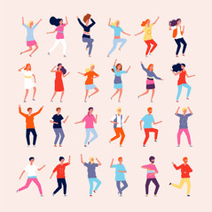Dancing people. Happy characters male and female dancers vector flat pictures. Illustration celebration person, dancer entertainment
