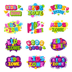 Playroom logo. Kids zone colored funny badges text graphic emblem for game education areas vector set. Playroom and kidzone logo, banner emblem illustration