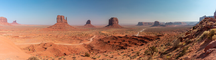 Wide Panorama of Monument Valley Utah