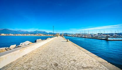 Viareggio Darsena promenade and port entrance. Versilia, Tuscany, Italy Wall mural