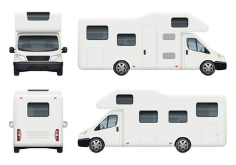 Rv camper. Realistic family camping trailer for travelling and have a rest car back top and front sides view vector set. Camper car, camp vehicle trailer illustration