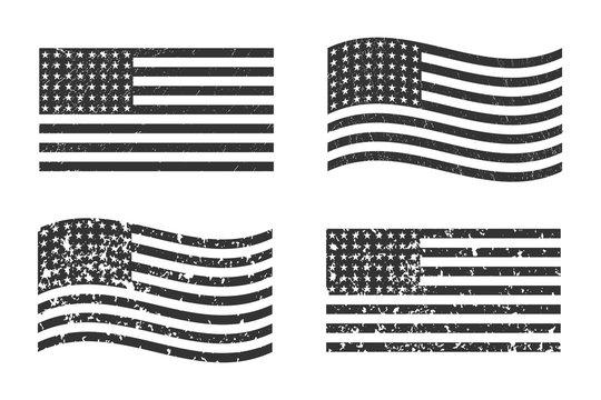 USA American grunge flag set, dark gray isolated on white background, vector illustration.  EPS10.
