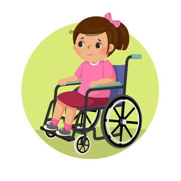 Vector illustration of little sad disabled girl in a wheelchair. Health Problems concept.
