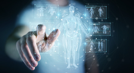 Man using digital x-ray human body holographic scan projection 3D rendering