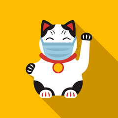 Chinese Lucky Cat toy in coronavirus protection mask
