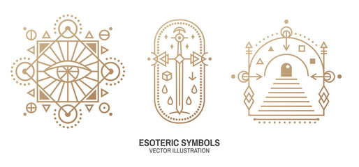 Esoteric symbols. Vector. Thin line geometric badge. Outline icon for alchemy or sacred geometry. Mystic and magic design with all-seeing eye, gate to another world and sword.