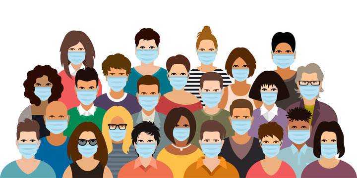 Group of people wearing medical masks. Virus protection vector poster.