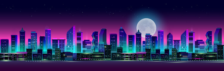 Night city panorama with moon and neon glow. Vector illustration. Fotomurales