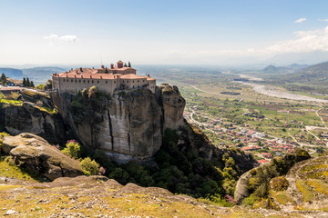 Meteora, Greece. The Byzantine Monastery of St Stephen (Agios Stefanos) in the rocks at Meteora in Kalambaka