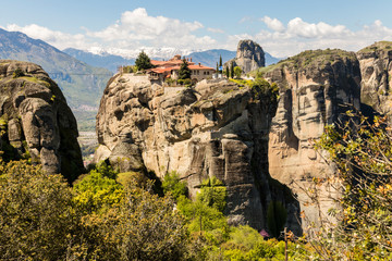 Meteora, Greece. The Byzantine Monastery of the Holy Trinity (Agios Triados) in the rocks at Meteora in Kalambaka