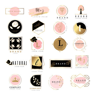 luxury logo .for wedding,badge,printing,product,package.vector illustration