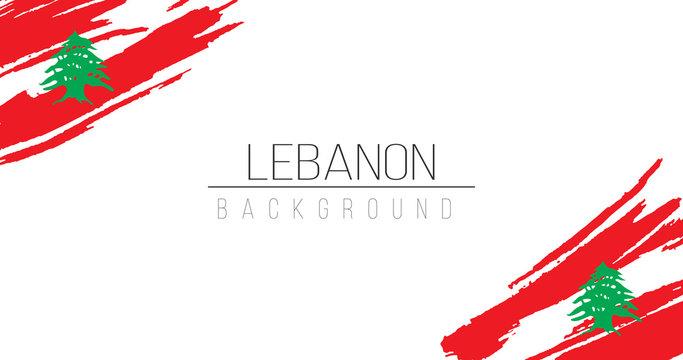 Lebanon flag brush style background with stripes. Stock vector illustration isolated on white background.