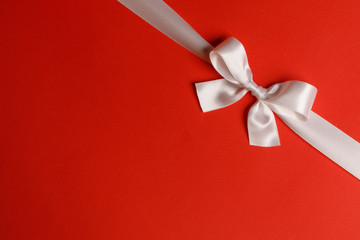 Wall Mural - White bow on red