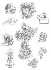 black and white ink doodle art sticker pack illustrations