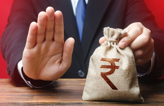 Businessman refuses to give indian rupee money bag. Refusal to grant loan mortgage, bad credit history. Financial difficulties. Refuses cooperate. Sanctions, confiscation funds. Asset freeze seizure.
