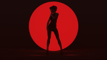 Black Vampire Devil Woman in Small Black Dress Standing with a Big Red Sphere in a Dark foggy void Seductive Front View 3d Illustration 3d render
