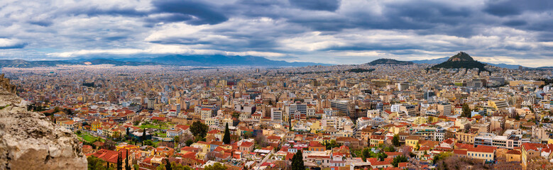Fototapeten Athen ATHENS,GREECE/MARCH 29,2015:The panoramic view of Athens from the top