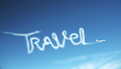 Fotomurales - Airplane in sky drawing word travel.