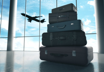 Fototapete - Travel bags in airport and airliner in sky