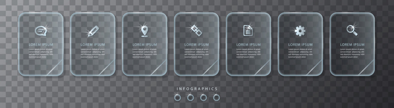 Vector infographic design UI template transparent glass labels and icons