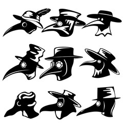 Set of nine plague doctors in black and white style. Hat, cloak, and plague mask.
