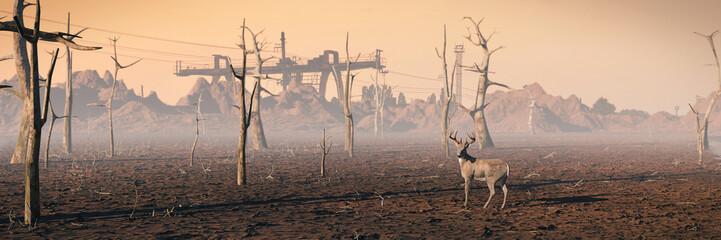 Foto auf Gartenposter Dunkelbraun deer in dead forest, climate change crisis background