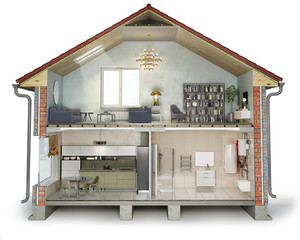 House cross section, view on bathroom, kitchen and living room, 3d illustration