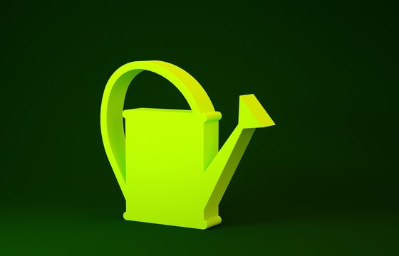 Yellow Watering can icon isolated on green background. Irrigation symbol. Minimalism concept. 3d illustration 3D render