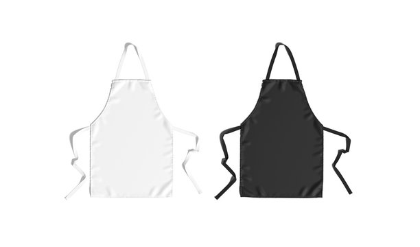 Blank black and white apron with strap mockup, top view