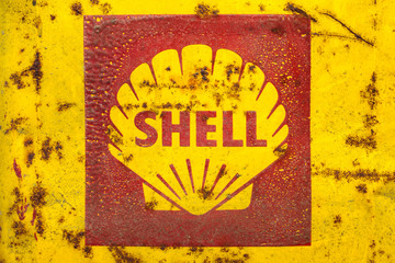 Vintage emblem of the Shell Oil Company in Drempt, The Netherlands on November 15, 2013