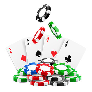 3d realistic chips falling on stack or heap of realistic gambling tokens and playing cards. Aces of clubs, hearts, spades, diamonds. Online gamble and gaming, sport poker and blackjack, winning theme
