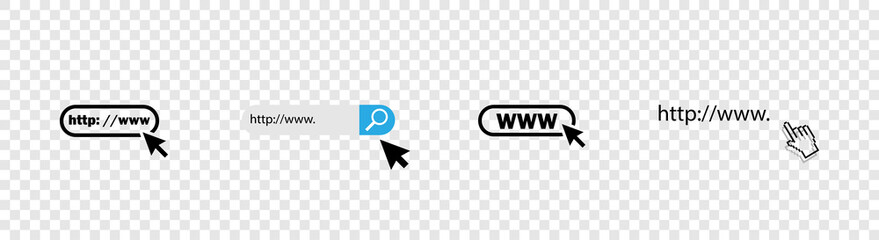 Www icons collection. Web site icons. Www icons with hand cursor in flat design. Www vector icons. Eps10