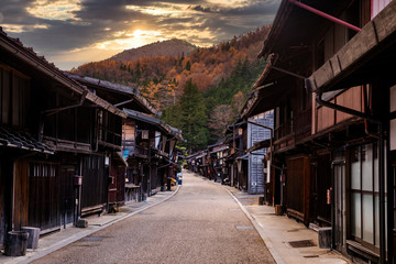Narai-juku, Japan. Picturesque view of old Japanese town with traditional wooden architecture. Narai-juku post town in Kiso Valley, Japan