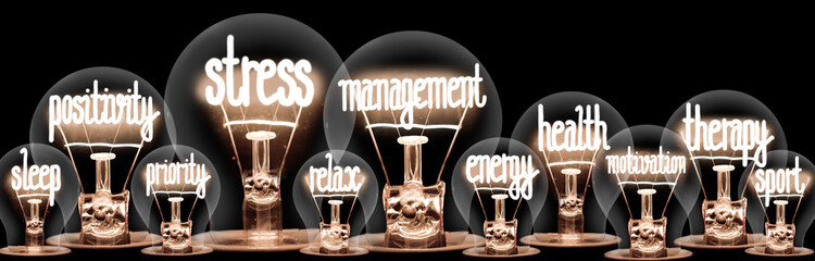 Foto auf AluDibond Spa Light Bulbs with Stress Management Concept