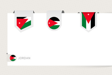 Label flag collection of Jordan in different shape. Ribbon flag template of Jordan