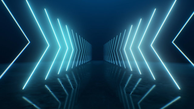 3d render Neon arrows going into perspective