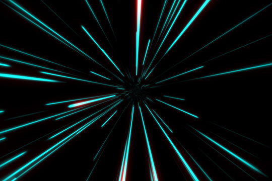 Starry bright glowing lights flying extremely fast lightspeed through hyperspace. Digital Design Concept.